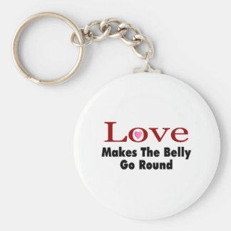 Love Makes The Belly Go Round Basic Round Button Key Ring