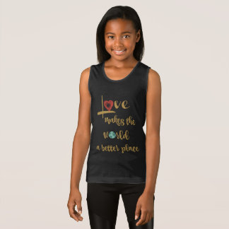 Love makes the world a better place (gold text) singlet