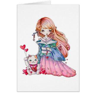 LOVE Maneki Neko - blank card