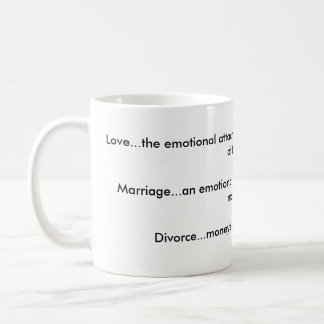 Love, Marriage, Divorce mug