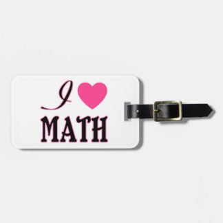 Love Math Pink Heart Logo Luggage Tag