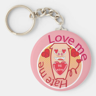 Love me Hate me pink pig keychain