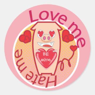 Love me Hate me pink pig sticker