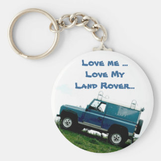 Love me ...Love My Land rover ...key chain Basic Round Button Key Ring