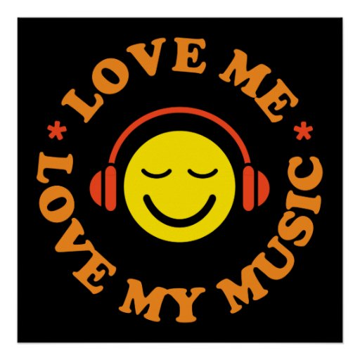 Love me love my music smiley with headphones print
