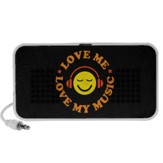 Love me love my music smiley with headphones iPod speaker