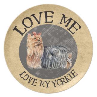 Love Me Love My Yorkie Plate