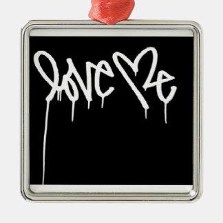 Love Me Silver-Colored Square Decoration