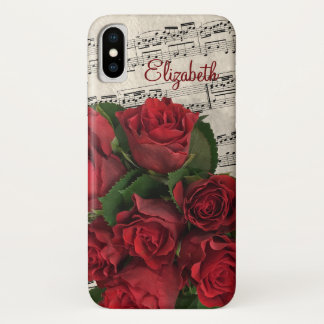 Love Melody Red Roses and Name iPhone X Case