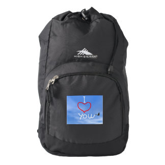 Love message from biplan smoke - 3D render Backpack