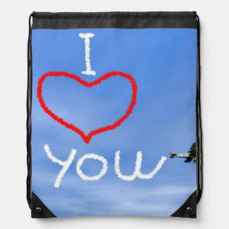 Love message from biplan smoke - 3D render Drawstring Bag