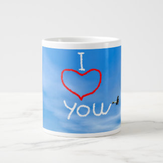 Love message from biplan smoke - 3D render Giant Coffee Mug