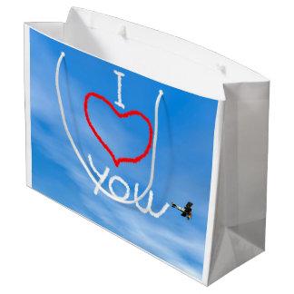 Love message from biplan smoke - 3D render Large Gift Bag