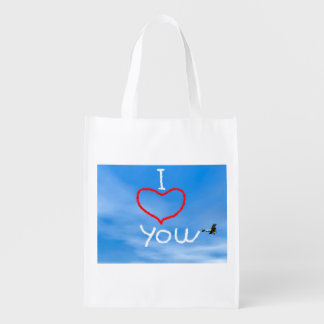 Love message from biplan smoke - 3D render Reusable Grocery Bag