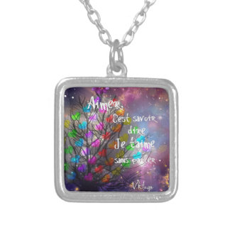 Love message on the tree plenty of hearts silver plated necklace