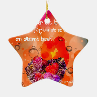 Love message with colorful hearts. ceramic ornament