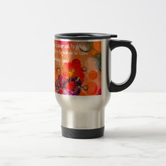 Love message with colorful hearts. travel mug