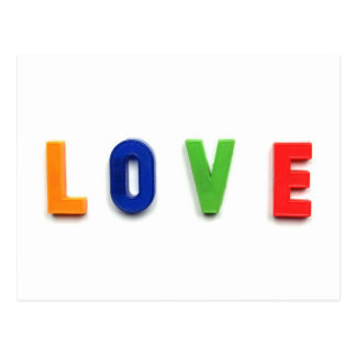 Love Message Written With Plastic Toy Characters Postcard