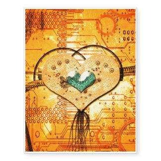 Love, metal heart in yellow colors