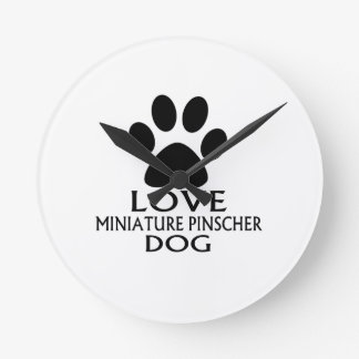 LOVE MINIATURE PINSCHER DOG DESIGNS ROUND CLOCK