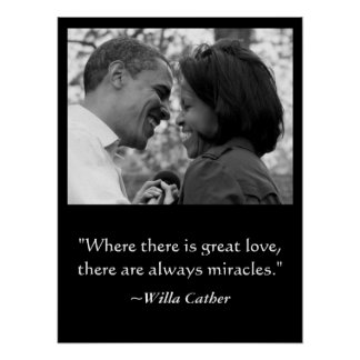 LOVE MIRACLES POSTER BARACK MICHELLE OBAMA