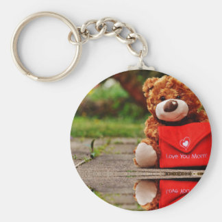 "Love Mom 2.25"" Basic Button Keychain"