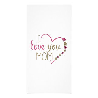 Love Mom Mothers Day Heart Customised Photo Card