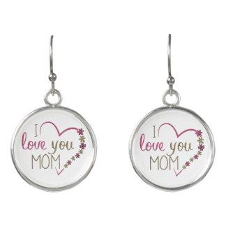 Love Mom Mothers Day Heart Earrings