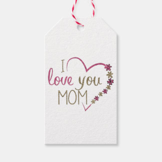 Love Mom Mothers Day Heart Gift Tags