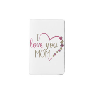 Love Mom Mothers Day Heart Pocket Moleskine Notebook