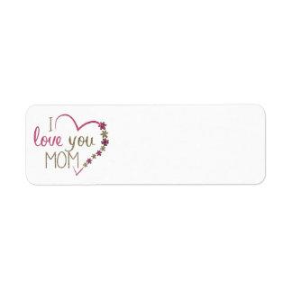 Love Mom Mothers Day Heart Return Address Label