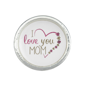 Love Mom Mothers Day Heart Ring