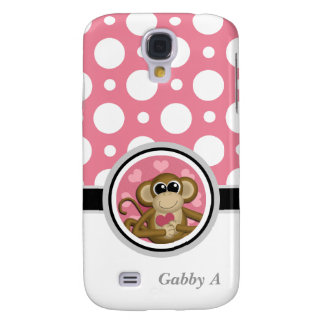 Love Monkey Pink & White Polka Dot Galaxy S4 Galaxy S4 Case