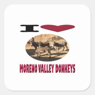 Love Moreno Valley Donkeys Square Sticker