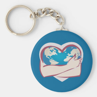 Love Mother Earth Basic Round Button Key Ring