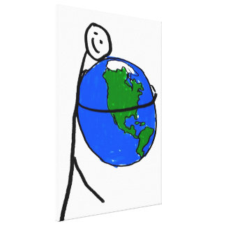 Love mother earth, child's drawing, save earth gallery wrapped canvas