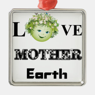 Love Mother Earth Silver-Colored Square Decoration