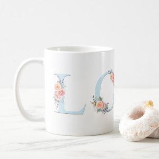 Love Mug Pastel Floral Alphabet Typography