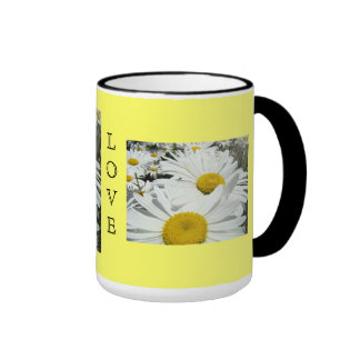 LOVE mugs White Daisy Flowers Coffee Mug