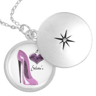 Love Mulberry Pink Stiletto Shoe and Heart Necklac Round Locket Necklace