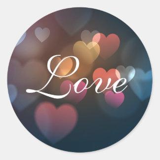Love Multicolored Hearts Sticker/Seal Round Sticker