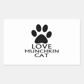 LOVE MUNCHKIN CAT DESIGNS RECTANGULAR STICKER
