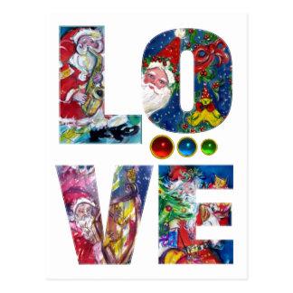 LOVE MUSICAL  SANTA XMAS PARTY POST CARDS