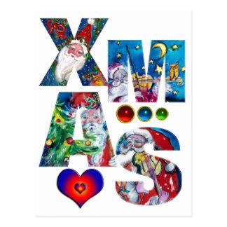 LOVE MUSICAL  SANTA XMAS PARTY POSTCARD