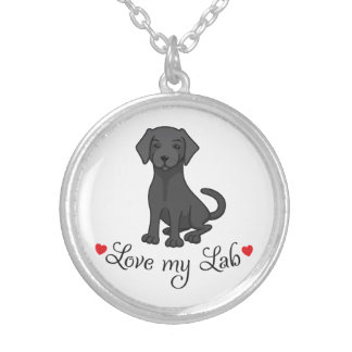 Love my black labrador retriever cute puppy dog silver plated necklace