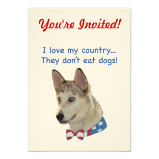 "Love My Country Ausky Dogs 5"" X 7"" Invitation Card"