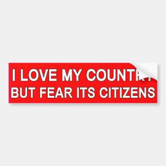 Love My Country Bumpersticker Car Bumper Sticker