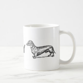 """Love my Dachshund"" paw print cute coffee mug"