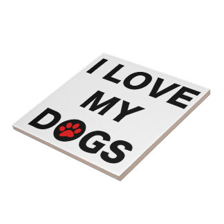 Love My Dogs (B) Small Square Tile