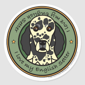 Love My English Setter Classic Round Sticker